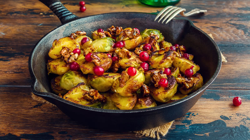 Brussel Sprouts with Pine Nuts and Cranberries