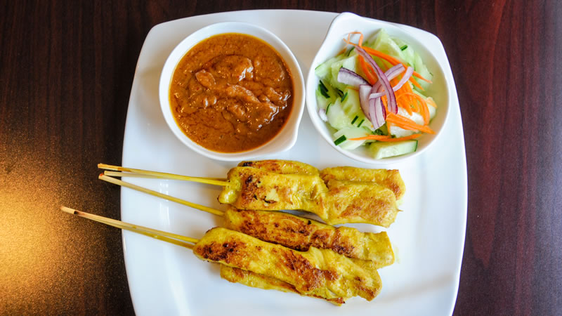 Chicken Satay with a Peanut Dipping Sauce