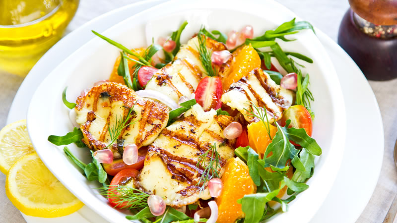Halloumi, Pomegranate Salad
