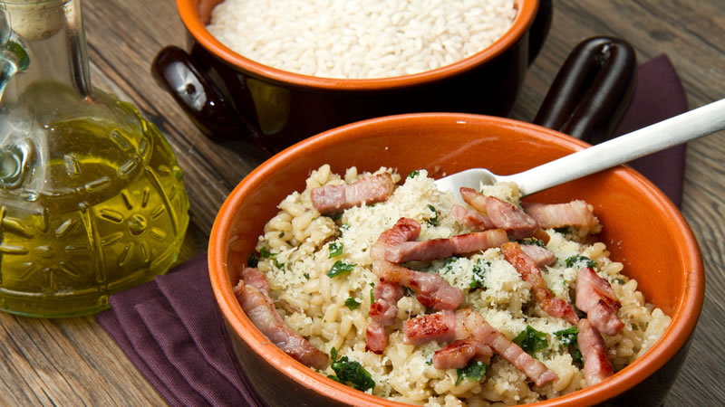 Oven Baked Bacon and Mushroom Risotto