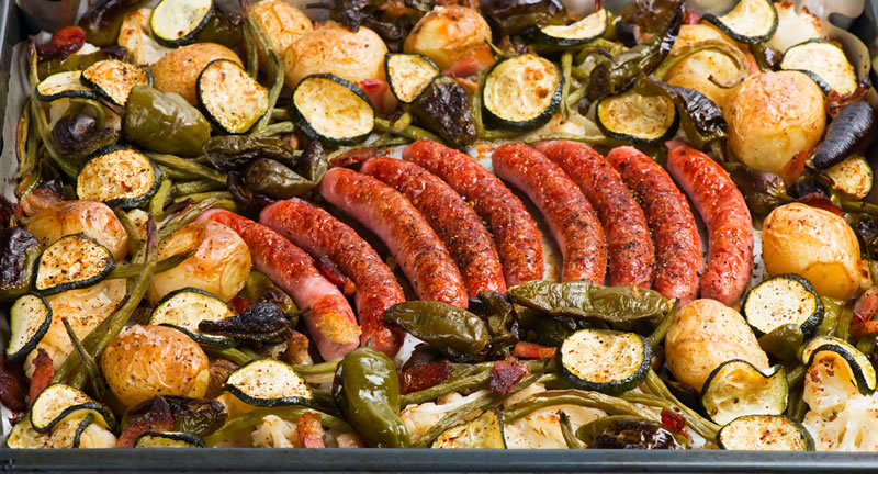 Roasted Sausage and Vegetable Tray Bake